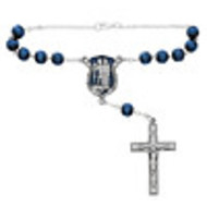 St. Michael  Auto Rosary, Pewter with  Blue Beads
