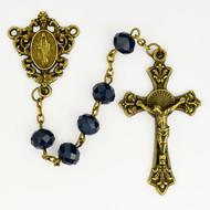 Antique Gold Blue Sun-Cut Rosary