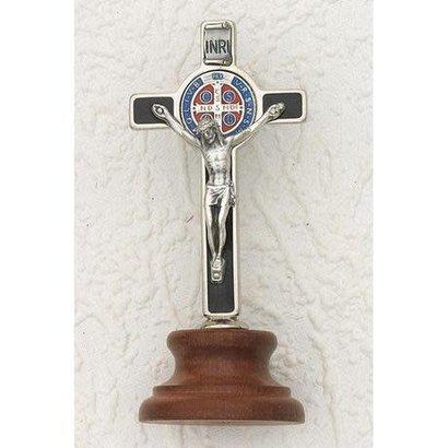 """3"""" Deluxe Enameled Black St. Benedict  Medal Cross on Base"""