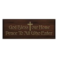 God Bless Our Home Plaque with Gold Cross, Peace To All Who Enter