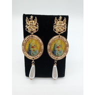 Vintage Oversize Dangle Madonna & Child Earrings with Pearl