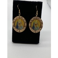 Vintage Dangle Gold Plated Madonna & Child Earrings