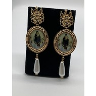 Vintage Oversize Dangle Song of the Angels Earrings with Pearls