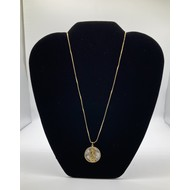 """Our Lady of Guadalupe 3/4"""" Round Mother of Pearl Pendant with Rhinestones on a Gold Plated Chain"""