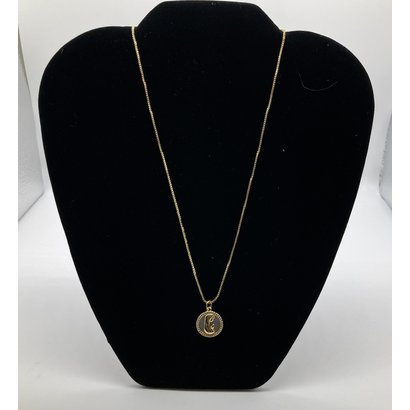 """Praying Madonna 1/2"""" Round Mother of Pearl Pendant with Rhinestones on a Gold Plated Chain"""