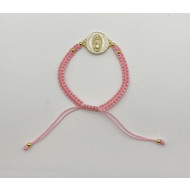 Our Lady of Guadalupe Gold on White Pink Macrame Slip Knot Bracelet