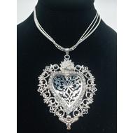 Sacred Heart Angel EX-Voto Multi strand Necklace Silver Finish