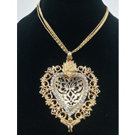 Sacred Heart Angel Ex-Voto Multi strand Necklace Gold plate
