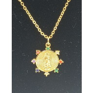 Our Lady of Guadalupe Gold Plated Necklace with Starburst rhinestones