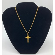 """Saint Benedict Crucifix with Gold Tone Corpus on a 17"""" Chain, Made in Italy"""
