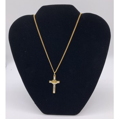 """St. Benedict Crucifix White/Gold Tone , 1.5"""" on a 17"""" Chain, Made in Italy"""