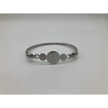 St. Benedict  Silver Plated 3 Medal Bangle Bracelet