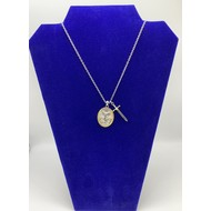 """Be Strong in the Lord, For His Power is Mighty St. Michael Pendant with Sword on Silver Plated 24"""" Chain"""