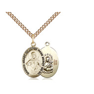 """Scapular Medal 14KT Gold Filled,  3/4"""" x  3/8"""", , with Chain 18"""" Heavy Curb"""
