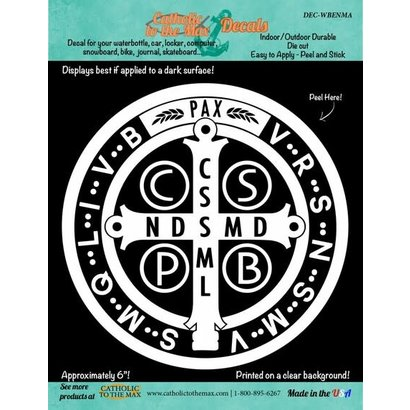 St. Benedict Medal Decal, White
