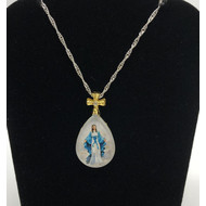 Our Lady of Grace full color pendant with gold cross on silver chain oval
