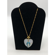 OUR LADY OF GRACE COLOR HEART  PENDANT  WITH GOLD CROSS ON GOLD CHAIN