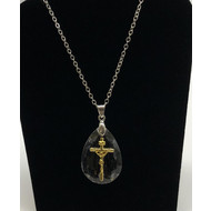 GOLD CROSS ON CRYSTAL WITH SILVER CHAIN