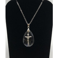 SILVER CROSS ON CRYSTAL  WITH SILVER CHAIN