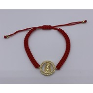 OL OF GUADALUPE GOLD WITH RHINESTONES  RED MACRAME BRACELET