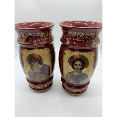"Red 2 Sided Madonna & Child Christ the Teacher Byzantine Greek Icon Ceramic Vase 6 1/2""x3 1/2"