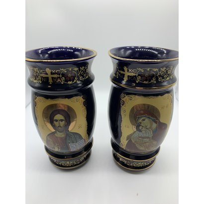 Blue 2 Sided Madonna & Child Christ the Teacher Byzantine Greek Icon Ceramic Vase