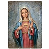 """Immaculate Heart of Mary Wood Plaque 27""""H"""