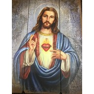 "Sacred Heart of Jesus Wood Plaque 27""H"