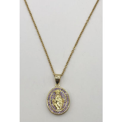 Our Lady of Grace Gold Plated Oval Necklace with Crystal, Lavender