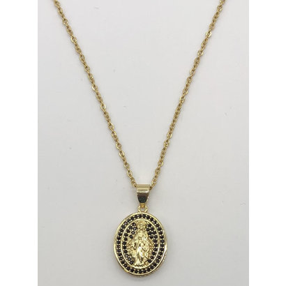 Our Lady of Grace Gold Plated Oval Necklace with Crystal, Black