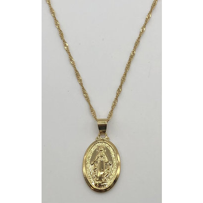 Our Lady of Grace Miraculous Medal, Small Gold Plate Oval Necklace