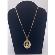 Madonna Stainless Steel Gold Plated Necklace Oval Silhouette with Rhinestones