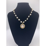 Our Lady of Grace Mother of Pearl Round Pendant with Tiny Pink Crystals on Real Freshwater Pearl & Gold Plated Chain
