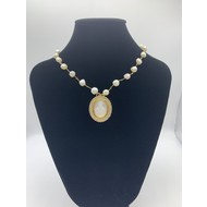 Our Lady of Grace Mother of Pearl Pendant with Tiny Crystals on Real Freshwater Pearl Gold Plated Chain