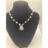 Our Lady of Grace Mother of Pearl Pendant with Half Moon Blue Crystals on Genuine Freshwater Pearl and Gold Plated Chain