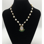 Our Lady of Grace Mother of Pearl Pendant With Half Moon Green Crystals on Genuine Freshwater Pearl and Gold Plated Chain