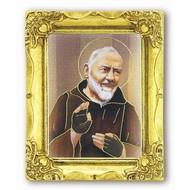 St. Pio 3x2 Antique Gold Frame