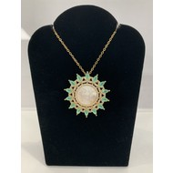 Our Lady of Guadalupe Mother of  Pearl Ornate Pendant Surrounded By Green Rhinestones On Gold Plated Chain