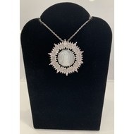 Our Lady of Guadalupe Mother of  Pearl Ornate Pendant Surrounded By Pink Rhinestones On Silver Plated Chain
