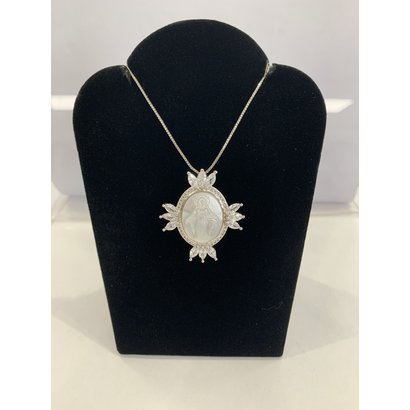 Our Lady Of Grace Mother Of Pearl Ornate With Rhinestones on Silver Plated chain