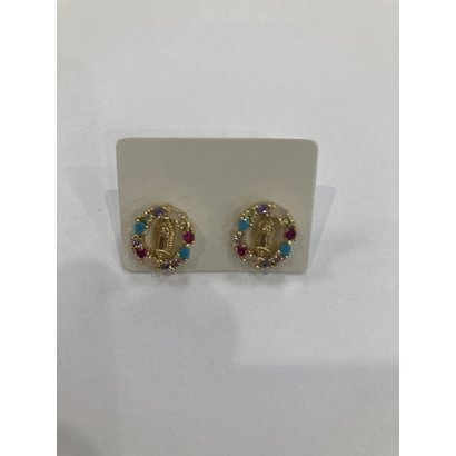 Our Lady of Guadalupe Earrings with Colored Stones-Round