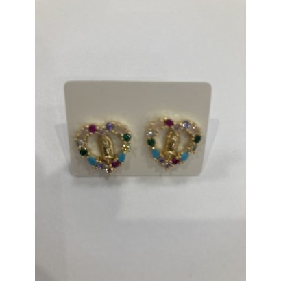 Our Lady of Guadalupe Earrings with Heart  & Colored Stones-Round