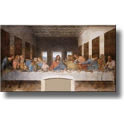 "Last Supper, 20"" x 37 1/2"", Da Vinci, Real Gold Leaf Frame, Made in Italy"