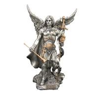"Archangel Gabriel Pewter Style with  Gold Trim 9"""