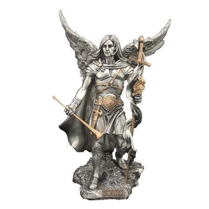 """Archangel Gabriel pewter style w/gold trim 9"""""""
