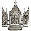 """CalvaryTriptych in a  Pewter Style Finish   Goldighlights, 7.25x8"""""""