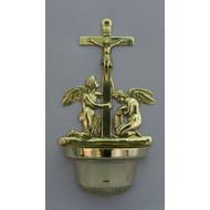 "Crucifixion Angel Font in Shining Brass, 12.25"""