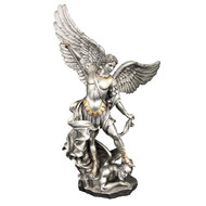 """St Michael in Pewter Style Finish-Gold Painted Trim 14.5"""""""