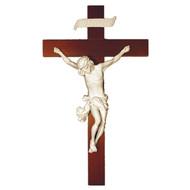 "Crucifix, White Alabaster, Wood Cross 14"""