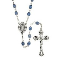 Miraculous Medal Rosary with Tiny Medals as Beads and a Blue Epoxy Finish